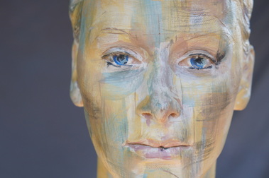abstract painted portrait sculpture of Ellie