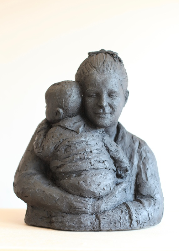 Mother and Child stoneware  sculpture