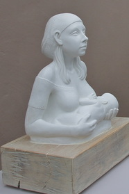 Princess Tootee Breast-feeding, cast marble by Billie Bond